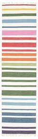 Rainbow Stripe - White Sag 80X300 Autentični  Moderni Ručno Tkani Staza Za Hodnik  Bijela/Krem (Pamuk, Indija)