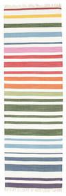 Rainbow Stripe - White Sag 80X250 Autentični  Moderni Ručno Tkani Staza Za Hodnik  Bež/Bijela/Krem (Pamuk, Indija)