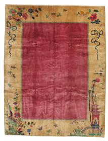 China Antički: Art Deco 1920 Sag 275X360 Autentični Orijentalni Ručno Uzlan Svjetlosmeđa/Grimizno Crvena/Tamnocrvena Veliki (Vuna, Kina)