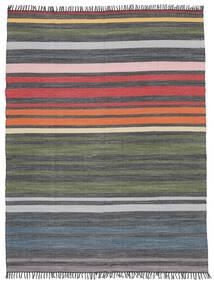 Rainbow Stripe - Siva Sag 250X300 Autentični  Moderni Ručno Tkani Tamnosiva/Maslinasto Zelena Veliki (Pamuk, Indija)