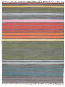 Rainbow Stripe - Siva Sag 200X250 Autentični  Moderni Ručno Tkani Svjetlosiva/Maslinasto Zelena (Pamuk, Indija)