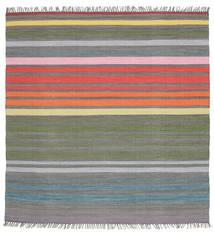 Rainbow Stripe - Siva Sag 200X200 Autentični  Moderni Ručno Tkani Kvadratni Tamnosiva/Svjetlosiva (Pamuk, Indija)