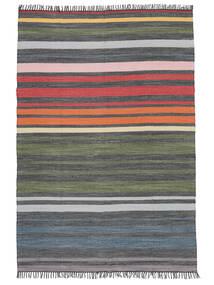 Rainbow Stripe - Siva Sag 140X200 Autentični  Moderni Ručno Tkani Tamnosiva/Maslinasto Zelena (Pamuk, Indija)