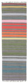 Rainbow Stripe - Siva Sag 80X250 Autentični  Moderni Ručno Tkani Staza Za Hodnik  (Pamuk, Indija)