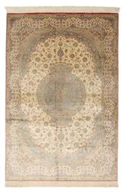Ghom Svila Potpisan: Ghom Mosavi Sag 128X200 Autentični  Orijentalni Ručno Uzlan Žuta/Tamna Bež (Svila, Perzija/Iran)