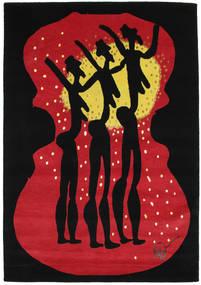 Dance Sag 135X190 Autentični Moderni Ručno Uzlan Crna/Grimizno Crvena (Vuna, Indija)