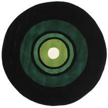 Schallplatte Handtufted Sag Ø 150 Moderni Okrugli Tamnozelena (Vuna, Indija)