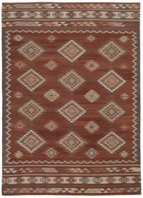 Ćilim Malatya Sag 240X340 Autentični  Moderni Ručno Tkani Tamnosmeđa/Crna (Vuna, Indija)