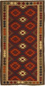 Ćilim Maimane Sag 97X198 Autentični Orijentalni Ručno Tkani Tamnosmeđa/Tamnocrvena (Vuna, Afganistan)