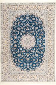 Nain 6La Habibian Sag 204X304 Autentični Orijentalni Ručno Uzlan Svjetlosiva/Bijela/Krem (Vuna/Svila, Perzija/Iran)