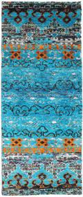 Quito - Tirkizna Sag 80X200 Autentični Moderni Ručno Uzlan Staza Za Hodnik Tirkizno Plava/Svjetlosiva (Svila, Indija)