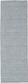 Ćilim Honey Comb - Plava Sag 80X240 Autentični  Moderni Ručno Tkani Staza Za Hodnik  Svjetloplava/Svjetlosiva (Vuna, Indija)
