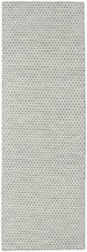 Ćilim Honey Comb - Siva Sag 80X240 Autentični  Moderni Ručno Tkani Staza Za Hodnik  Svjetlosiva/Bež (Vuna, Indija)
