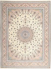 Isfahan Svileni Navoji Sag 315X420 Autentični Orijentalni Ručno Uzlan Svjetlosiva/Bež Veliki (Vuna/Svila, Perzija/Iran)
