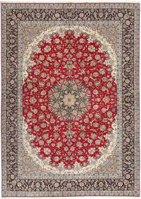 Isfahan Svileni Navoji Sag 300X417 Autentični Orijentalni Ručno Uzlan Svjetlosiva/Tamnocrvena Veliki (Vuna/Svila, Perzija/Iran)
