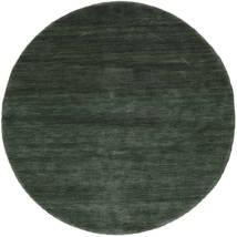 Handloom - Šumsko Zelena Sag Ø 150 Moderni Okrugli Tamnozelena/Tamnozelena (Vuna, Indija)