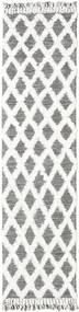 Inez - Dark_Brown/White Sag 80X300 Autentični  Moderni Ručno Tkani Staza Za Hodnik  Svjetlosiva/Bijela/Krem (Vuna, Indija)