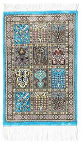 Ghom Svila Sag 30X40 Autentični Orijentalni Ručno Uzlan Bež/Tamnosiva/Svjetlosiva (Svila, Perzija/Iran)