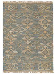 Vanjski Tepih Kalahari Jute Sag 200X300 Autentični Moderni Ručno Tkani Svjetlosiva/Tirkizno Plava (Juteni Tepisi Indija)