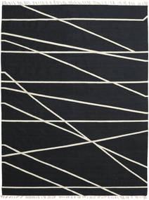 Cross Lines - Crna/Prljavo Bijela Sag 200X300 Autentični  Moderni Ručno Tkani Crna (Vuna, Indija)
