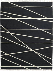 Cross Lines - Crna/Prljavo Bijela Sag 250X350 Autentični  Moderni Ručno Tkani Crna Veliki (Vuna, Indija)
