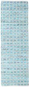 Elna - Bright_Blue Sag 80X250 Autentični  Moderni Ručno Tkani Staza Za Hodnik  Svjetloplava/Tirkizno Plava (Pamuk, Indija)