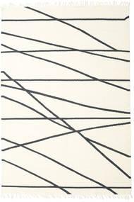 Cross Lines - Prljavo Bijela/Crna Sag 200X300 Autentični Moderni Ručno Tkani Bež/Bijela/Krem (Vuna, Indija)