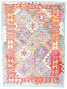 Ćilim Afghan Old Style Sag 132X178 Autentični  Orijentalni Ručno Tkani Bijela/Krem/Svjetloružičasta (Vuna, Afganistan)