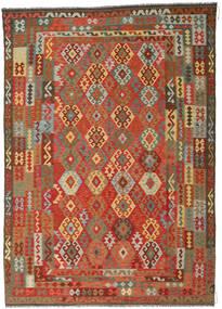 Ćilim Afghan Old Style Sag 246X349 Autentični Orijentalni Ručno Tkani Hrđavo Crvena/Tamnosiva (Vuna, Afganistan)