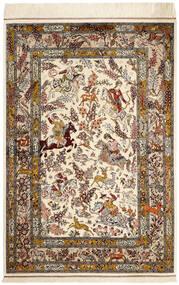 Ghom Svila Sag 98X148 Autentični  Orijentalni Ručno Uzlan Bež/Smeđa (Svila, Perzija/Iran)