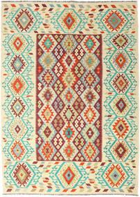 Ćilim Afghan Old Style Sag 205X289 Autentični Orijentalni Ručno Tkani Tamna Bež/Bež (Vuna, Afganistan)