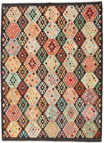 Ćilim Afghan Old Style Sag 216X291 Autentični Orijentalni Ručno Tkani Tamnosmeđa/Tamna Bež (Vuna, Afganistan)
