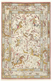 Ghom Svila Sag 132X203 Autentični  Orijentalni Ručno Uzlan Bež/Tamna Bež (Svila, Perzija/Iran)