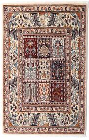 Moud Sag 76X117 Autentični Orijentalni Ručno Uzlan Bež/Tamnosmeđa (Vuna/Svila, Perzija/Iran)
