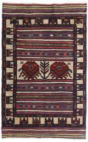 Ćilim Golbarjasta Sag 95X150 Autentični Orijentalni Ručno Tkani Crna/Tamnoljubičasta (Vuna, Afganistan)