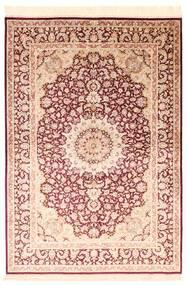 Ghom Svila Sag 138X200 Autentični  Orijentalni Ručno Uzlan Bež/Tamnocrvena/Tamna Bež (Svila, Perzija/Iran)