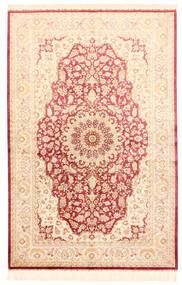 Ghom Svila Sag 132X201 Autentični  Orijentalni Ručno Uzlan Bež/Svjetloružičasta (Svila, Perzija/Iran)