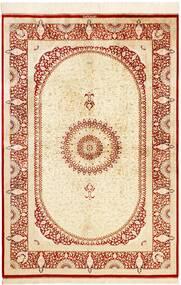Ghom Svila Sag 134X197 Autentični  Orijentalni Ručno Uzlan Bež/Grimizno Crvena (Svila, Perzija/Iran)