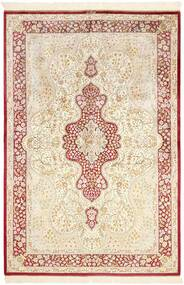 Ghom Svila Sag 134X203 Autentični  Orijentalni Ručno Uzlan Bež/Svjetloružičasta (Svila, Perzija/Iran)