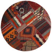 Tekkeh Ćilim Sag Ø 150 Autentični  Moderni Ručno Tkani Okrugli Tamnocrvena/Crna (Vuna, Perzija/Iran)