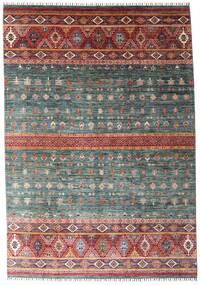 Shabargan Sag 214X306 Autentični  Moderni Ručno Uzlan Tamnosiva/Tamnocrvena (Vuna, Afganistan)