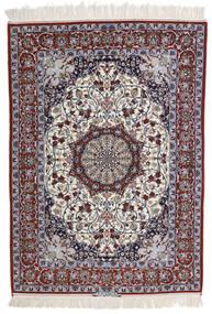 Isfahan Svileni Navoji Potpisan Intashari Sag 113X158 Autentični Orijentalni Ručno Uzlan Svjetlosiva/Tamnosmeđa (Vuna/Svila, Perzija/Iran)