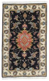 Tabriz 60 Raj Svileni Navoji Sag 73X120 Autentični Orijentalni Ručno Uzlan Crna/Tamna Bež (Vuna/Svila, Perzija/Iran)