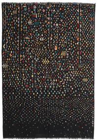 Ćilim Moderni Sag 195X286 Autentični  Moderni Ručno Tkani Crna/Tamnosiva (Vuna, Afganistan)
