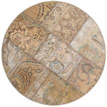 Patchwork - Persien/Iran Sag Ø 100 Autentični Moderni Ručno Uzlan Okrugli Svjetlosiva/Svjetlosmeđa (Vuna, Perzija/Iran)