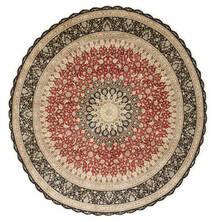 Ghom Svila Sag Ø 203 Autentični Orijentalni Ručno Uzlan Okrugli Svjetlosmeđa/Tamna Bež (Svila, Perzija/Iran)