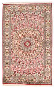 Kashmir Čista Svila Sag 94X150 Autentični  Orijentalni Ručno Uzlan Bež/Svjetlosiva (Svila, Indija)