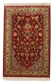 Kashmir Čista Svila Sag 62X95 Autentični Orijentalni Ručno Uzlan Tamnocrvena/Tamnosmeđa (Svila, Indija)