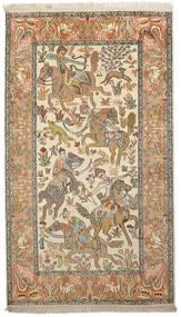 Kashmir Čista Svila Sag 91X159 Autentični  Orijentalni Ručno Uzlan Tamna Bež/Bež (Svila, Indija)