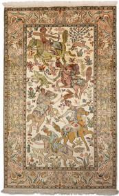 Kashmir Čista Svila Sag 94X152 Autentični  Orijentalni Ručno Uzlan Smeđa/Tamna Bež (Svila, Indija)